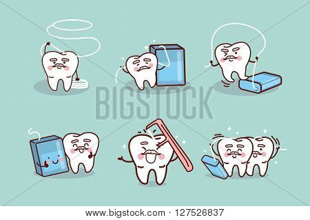 cute cartoon senior tooth use dental floss great for health dental care concept
