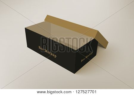Shoes product packaging mock-up box. Illustration isolated on gradient background. Mock up template scene 4.