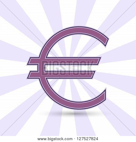The Euro currency symbol in purple color on the background of diverging rays. Vector illustration. You can make a seamless background. Graphic symbol of the European currency the Euro. Logo.