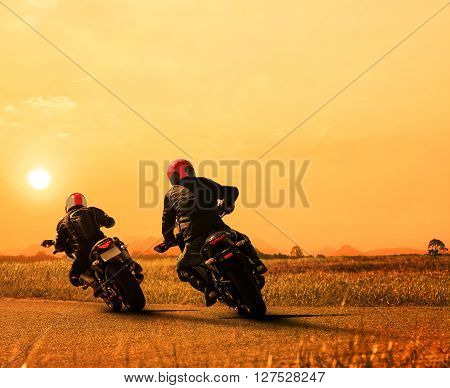 couples friend motorcycle rider biking on asphalt highway against beautiful sun set sky use for people and man leisure activities in motorsport and traveling theme