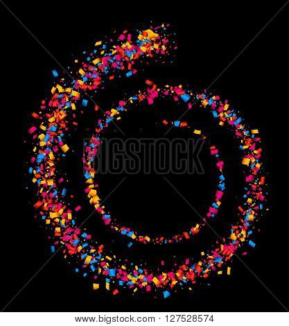 Black abstract background with spiral of color confetti. Vector illustration.