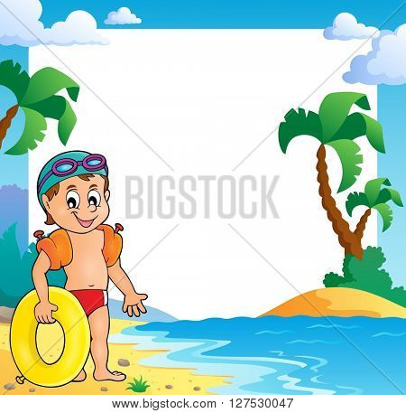 Beach theme frame with small swimmer - eps10 vector illustration.
