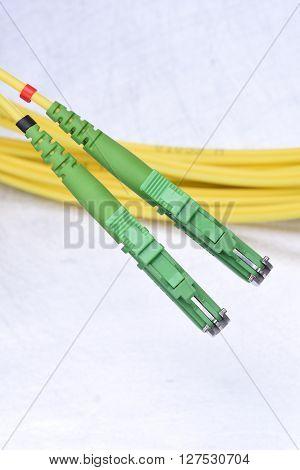 Closeup optic single mode type E2000 patch cord