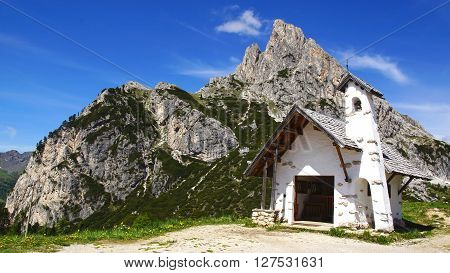 Dolomites landscape with ancient chirch. Pass Falzarego, Italy ** Note: Soft Focus at 100%, best at smaller sizes