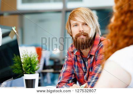 Handsome businessman in office