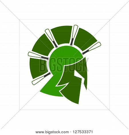 Spartan warrior as emblem of sports teams on white background