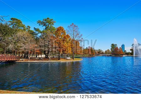 Houston Hermann park conservancy Mcgovern lake at autumn in Texas