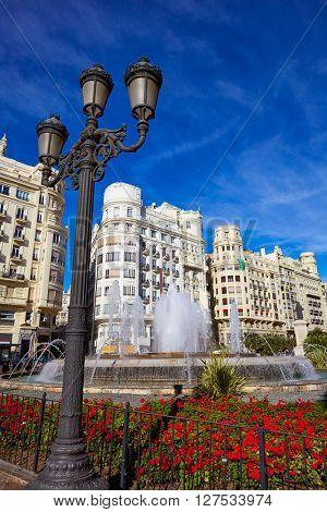 Valencia city Ayuntamiento square Plaza fountain of Spain