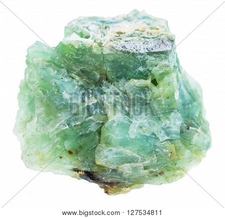 Raw Green Opal Gemstone Isolated On White