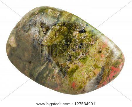 Polished Unakite (epidosite) Gemstone Isolated