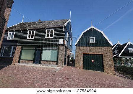 View of Typical dutch house village in Marken island, the Netherlands