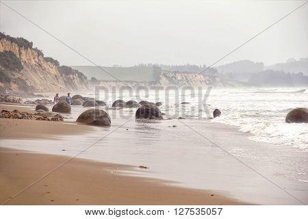 View of Moeraki Boulders in Koekohe Beach, Otago coast of New Zealand