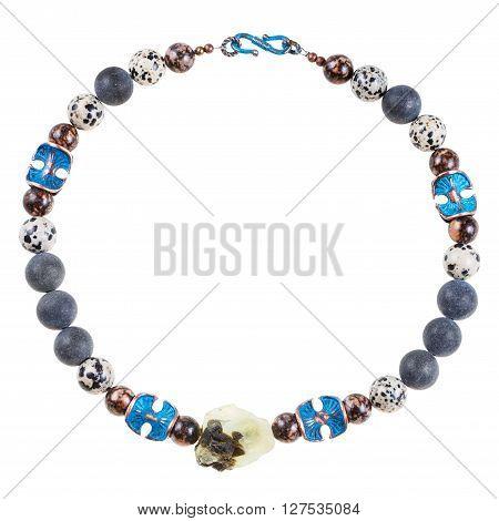 Necklace From Prehnite, Shungite, Aplite Gems