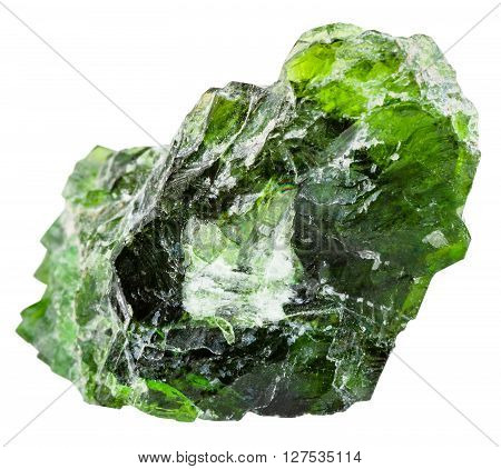 Raw Chrome Diopside Gem Isolated On White