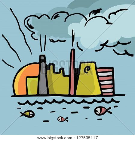 Factory Pollution And Fish In Water Vector Illustration Black On White..