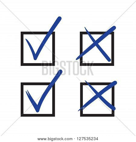 Check Mark Vector Hand Drawn Icon, Wrong Mark, Sketch Check Mark, Black On White