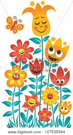 Small cartoon garden over white background. No transparency and gradients used.