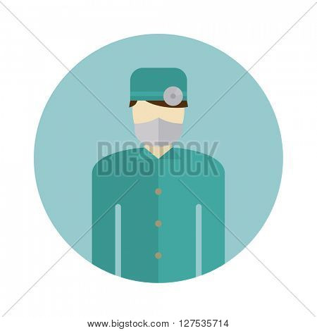 Medical doctor silhouette icon nurse or surgeon wearing scrubs with mask on face vector.