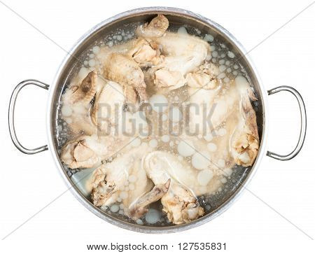 Stewpan With Cold Boiled Chicken Wings In Broth