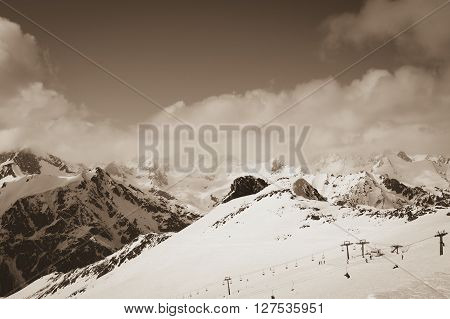 Ski Resort. Toned Landscape.