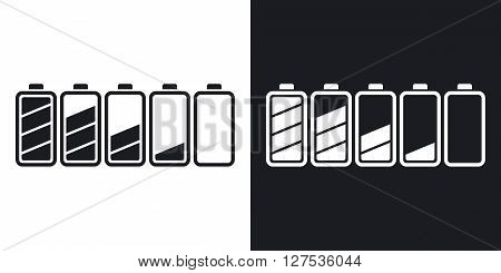 Battery icons set stock vector. Two-tone version on black and white background