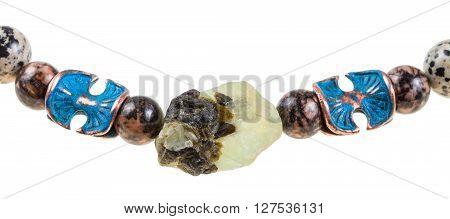 Raw Prehnite Stone And Rhodonite Ball In Necklace