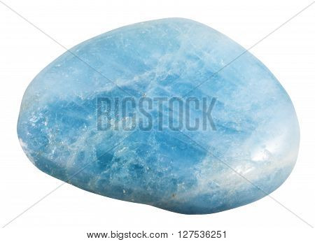 Polished Aquamarine (blue Beryl) Gemstone Isolated