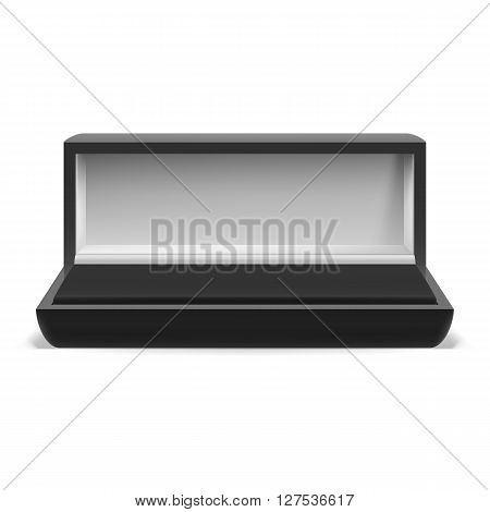 Open rectangular box for jewelry on white background