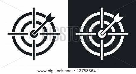 Vector target with dart icon. Two-tone version on black and white background