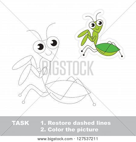 Mantis in vector to be traced. Restore dashed line and color the picture. Trace game for children.