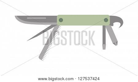 Army jack knife multi tool steel blade pocket equipment vector icon