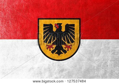 Flag Of Dortmund, Painted On Leather Texture