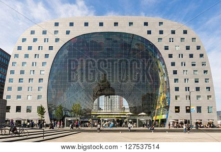 Rotterdam, The Netherlands - July 15, 2015: Markthal - Marketplace - in Rotterdam city.