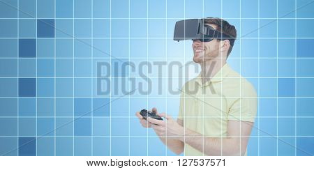 3d technology, virtual reality, entertainment and people concept - happy young man with virtual reality headset or 3d glasses playing with game controller gamepad over blue grid background