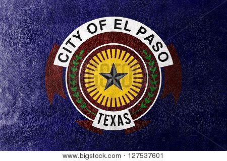 Flag Of El Paso, Texas, Painted On Leather Texture