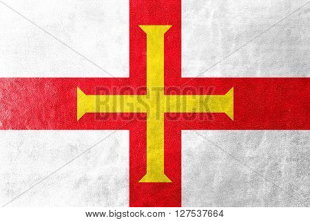 Flag Of Guernsey, Painted On Leather Texture