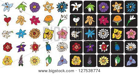 illustration icons Bud flowers on a black and white background