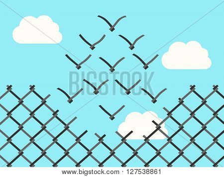 Chain link fence transforming into wire mesh birds flying away. Freedom success positive thinking motivation inspiration and courage concept. EPS 8 vector illustration no transparency