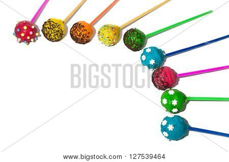 Colored cakepops on isolated background. Holiday sweet
