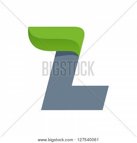 L Letter Logo With Green Leaf.