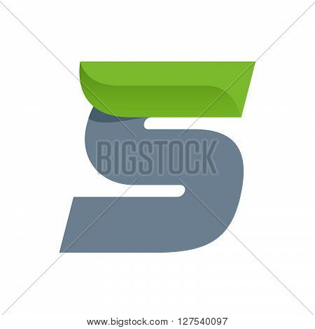 S Letter Logo With Green Leaf.