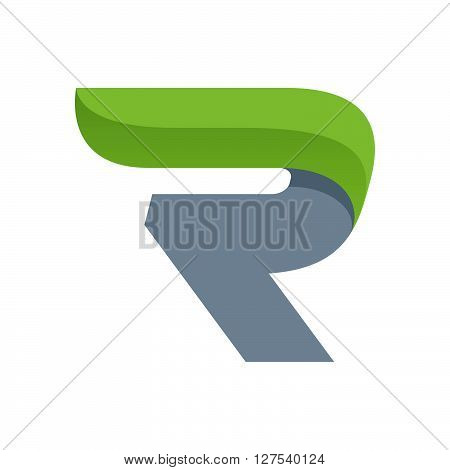 R Letter Logo With Green Leaf.