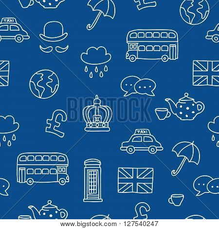 Seamless vector pattern of British icons on blue background. Learning foreign languages.