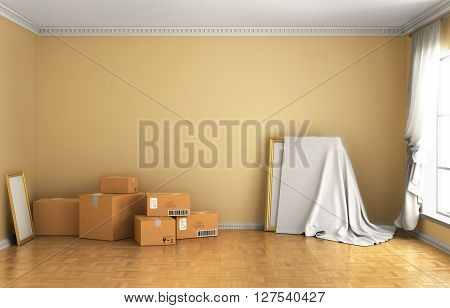 Concept of moving. Box Cardboard Boxes on the floor against a white wall Shipping. 3d illustraton