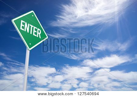 Green Road Sign With Enter Sign Inside On Blue Sky Background