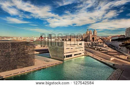 MARSEILLE FRANCE - October 19 2015 : The modern building of Museum of European and Mediterranean Civilizations (MuCEM). It was inaugurated on 2013 when the city was the European Capital of Culture