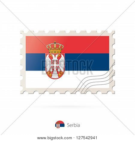 Postage Stamp With The Image Of Serbia Flag.