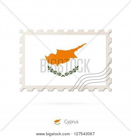 Postage Stamp With The Image Of Cyprus Flag.