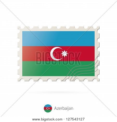 Postage Stamp With The Image Of Azerbaijan Flag.