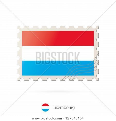Postage Stamp With The Image Of Luxembourg Flag.